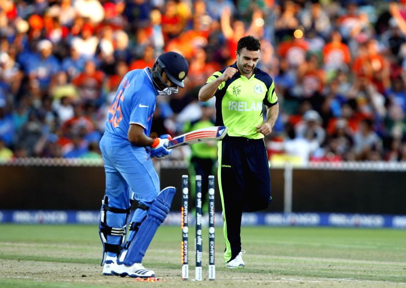 Hamilton (New Zealand): Indian batsman Rohit Sharma gets bowled during an ICC World Cup - 2015 match against Ireland at the Seddon Park in Hamilton, New Zealand  on March 10, 2015. - Rohit Sharma