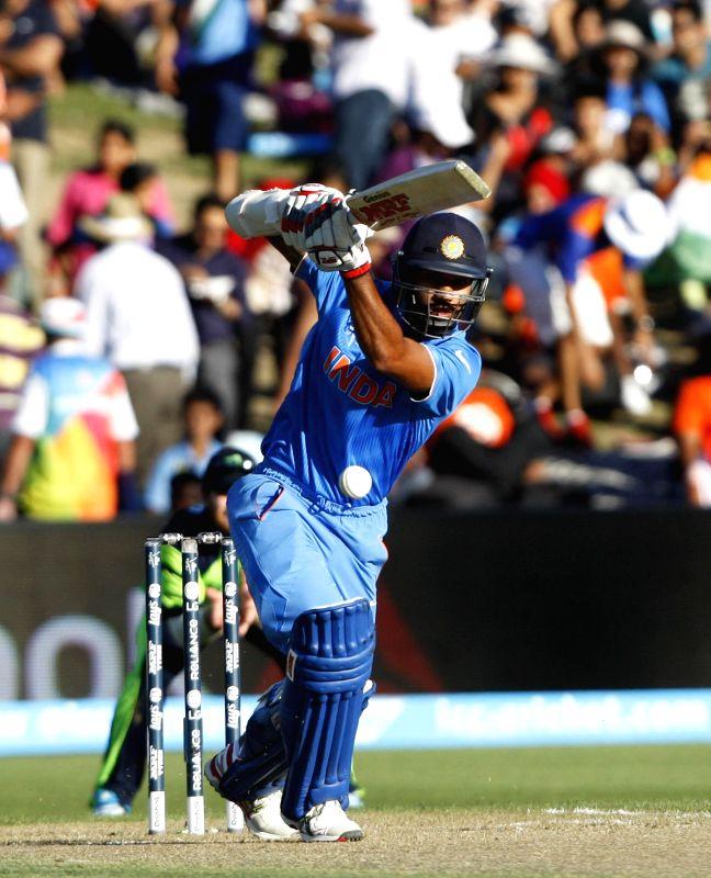 Hamilton (New Zealand): Indian batsman Shikhar Dhawan in action during an ICC World Cup - 2015 match against Ireland at the Seddon Park in Hamilton, New Zealand  on March 10, 2015. - Shikhar Dhawan