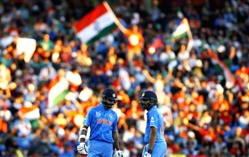 Hamilton (New Zealand): Indian batsmen Rohit Sharma and Shikhar Dhawan during an ICC World Cup - 2015 match against Ireland at the Seddon Park in Hamilton, New Zealand  on March 10, 2015. - Shikhar Dhawan and Rohit Sharma