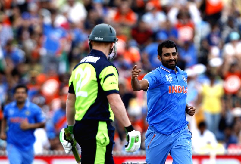 Hamilton (New Zealand): Indian cricketer Mohammed Shami during an ICC World Cup - 2015 match against Ireland at the Seddon Park in Hamilton, New Zealand  on March 10, 2015.