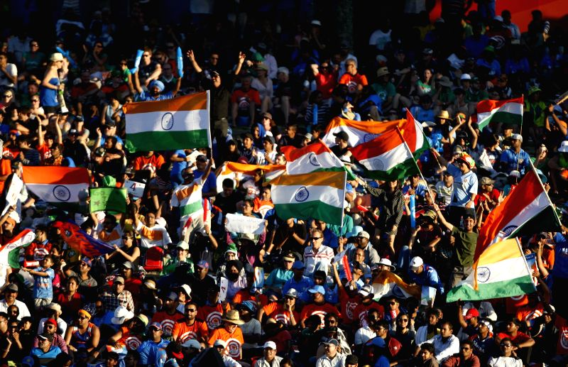 Hamilton (New Zealand): Spectators cheer during an ICC World Cup - 2015 match against Ireland at the Seddon Park in Hamilton, New Zealand  on March 10, 2015.