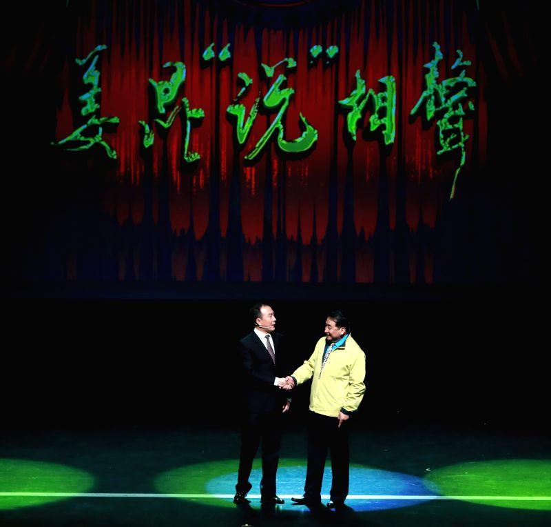 HANAU, April 30, 2017 - Chinese cross talk artists Jiang Kun (R) and Dai Zhicheng perform during a cross talk show at the Congress Park Hanau near Frankfurt, Germany, on April 29, 2017. (Xinhua/Luo ...