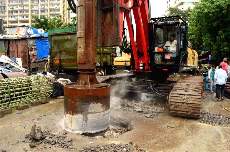 Hancock Bridge repair work underway in Mumbai's Mazgaon on July 23, 2018.