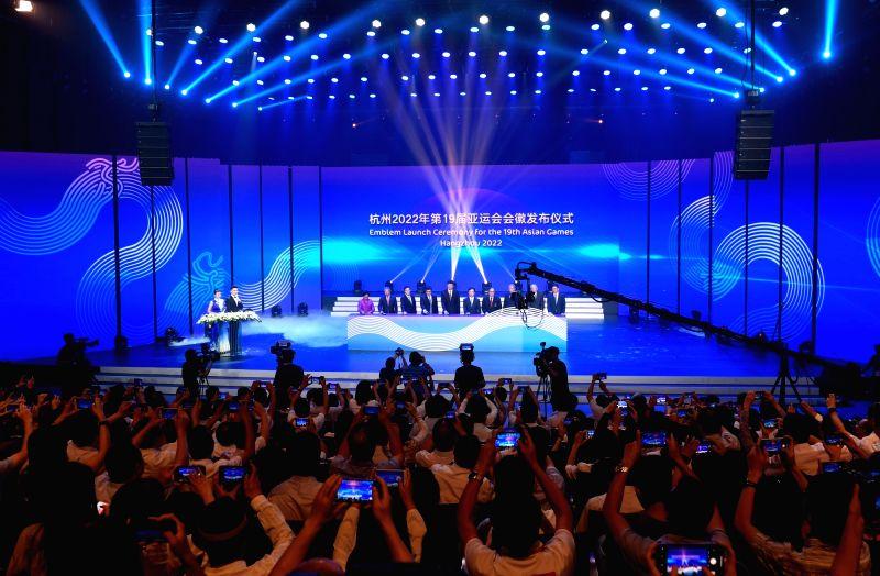HANGZHOU, Aug. 6, 2018 - Photo taken on Aug. 6, 2018 shows the Emblem Launch Ceremony for the 19th Asian Games Hangzhou 2022 in Hangzhou, capital of east China's Zhejiang Province.