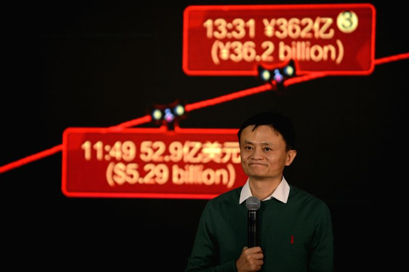 Hangzhou (China): Ma Yun, founder and board chairman of Alibaba, speaks to reporters at Alibaba Group in Hangzhou, capital of east China's Zhejiang Province, Nov. 11, 2014. Online sales on Alibaba's .