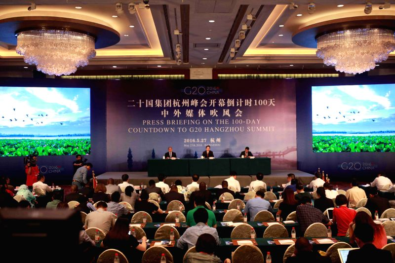 HANGZHOU, May 27, 2016 - A press briefing on the 100-day countdown to G20 Hangzhou Summit is held in Hangzhou, capital of east China's Zhejiang Province, May 27, 2016.
