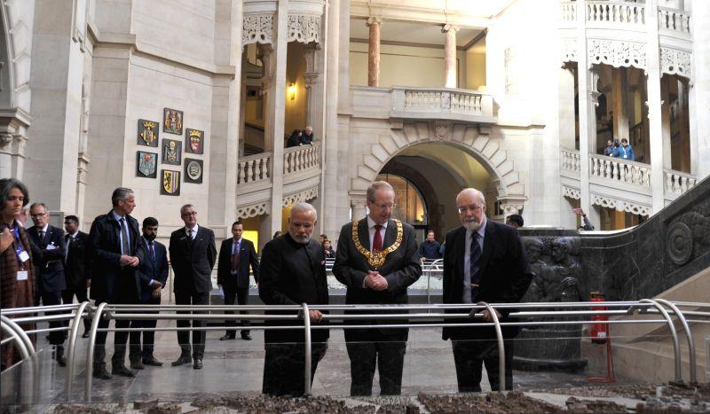 Hannover (Germany): Prime Minister Narendra Modi with the Hannover  Mayor  Stefan Schostok, in Hannover, Germany on April 12, 2015. - Narendra Modi