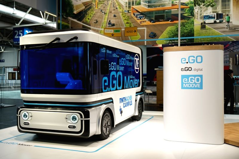 HANNOVER, June 12, 2018 - An electric bus of e.Go company is displayed during the CeBIT in Hannover, Germany, on June 11, 2018. The world's largest trade exhibition for computer technology CeBIT ...