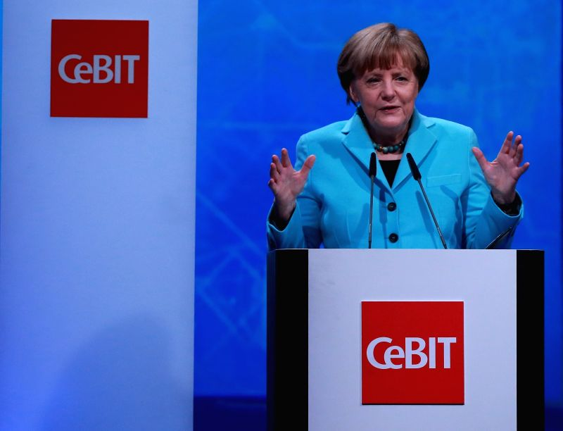 German Chancellor Angela Merkel delivers a speech during the opening ceremony of CeBIT 2015 in Hanover, Germany, on March 15, 2015. Top IT business fair CeBIT ...