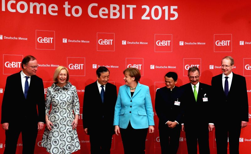 German Chancellor Angela Merkel(4th L), Chinese Vice Premier Ma Kai(3rd L) and Jack Ma, the founder of Chinese eCommerce giant Alibaba(3rd R) attend the opening ...