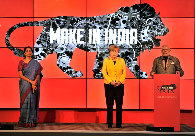Prime Minister Narendra Modi addresses at the Joint Inauguration of the India Pavilion and the Joint Walk-About Make in India, in Hannover, Germany on April 13, 2015. Also seen the German ... - Narendra Modi