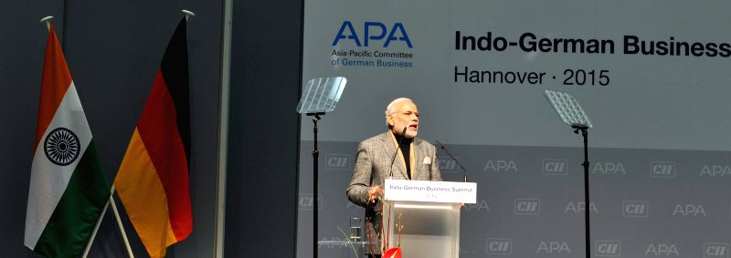 Prime Minister Narendra Modi addresses at the Joint Inauguration of the Indo-German Business Summit, in Hannover, Germany on April 13, 2015. - Narendra Modi