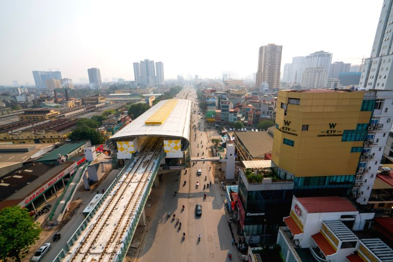HANOI, April 21, 2017 - Photo taken on March 28, 2017 shows the Cat Linh-Ha Dong urban railway project under construction in Vietnam's capital Hanoi. The Cat Linh-Ha Dong urban railway project, about ...