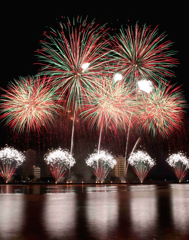 Photo taken on April 29, 2015 shows fireworks displayed at Da Nang International Fireworks Competition in Da Nang, Vietnam. Five teams from Australia, Poland, South ...