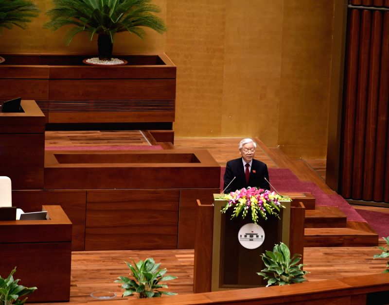 HANOI, July 20, 2016 - General Secretary of the Communist Party of Vietnam Central Committee Nguyen Phu Trong addresses the first session of the 14th National Assembly of Vietnam in Hanoi, capital of ...