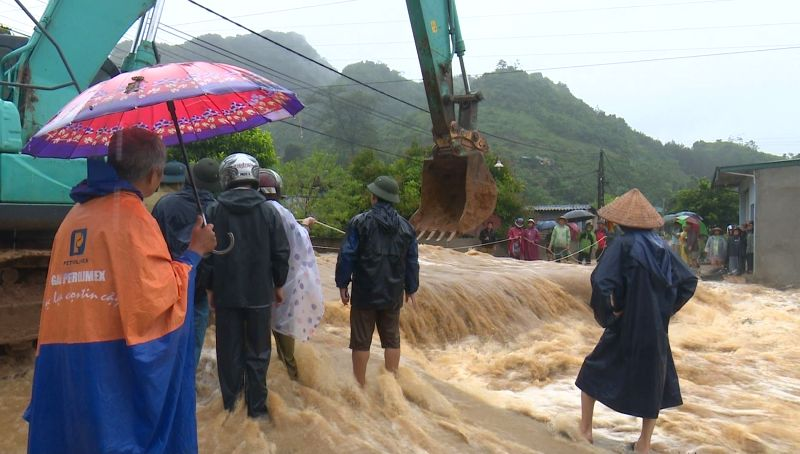 HANOI, July 20, 2018 - Photo taken on July 20, 2018 shows flood affected region in Son La Province of Vietnam.  Downpour and flooding triggered by Typhoon Son Tinh killed eight people and left 20 ...