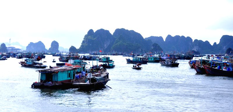 HANOI, July 27, 2016 - Photo taken on July 27, 2016 shows fishing boats taking shelter in Quang Ninh province, northern Vietnam. Vietnam is preparing to brace for storm Mirinae which is forecast to ...
