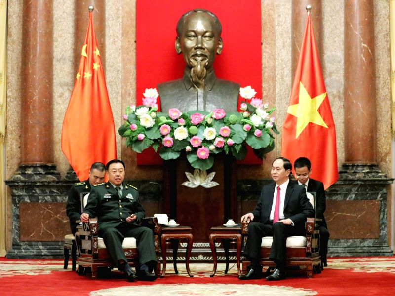 HANOI, June 19, 2017 - Fan Changlong (L), vice chairman of the Central Military Commission of China, meets with Vietnamese President Tran Dai Quang in Hanoi, capital of Vietnam, June 18, 2017.