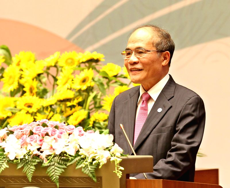 Nguyen Sinh Hung, chairman of Vietnam's National Assembly, addresses the opening ceremony of the 132nd Assembly of the IPU in Hanoi, Vietnam, on March 28, 2015. ...
