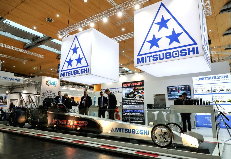 "HANOVER, April 25, 2017 - Fair-goers view a vehicle called ""Star racer"" at Mitsuboshi's stand of the Hanover Messe 2017 in Hanover, Germany, on April 24, 2017. The Hanover Messe started on ..."
