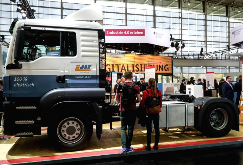 HANOVER, April 25, 2017 - Fair-goers view an electric truck during the Hanover Messe 2017 in Hanover, Germany, on April 24, 2017. The Hanover Messe started on Monday, and will last until April 28. ...