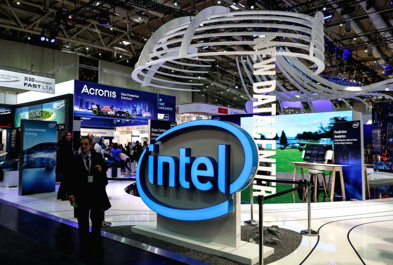 HANOVER, March 20, 2017 - Photo taken on March 20, 2017 shows a view of the Intel booth during the CeBIT 2017 in Hanover, Germany. The world's leading trade fair showcasing IT and communications ...