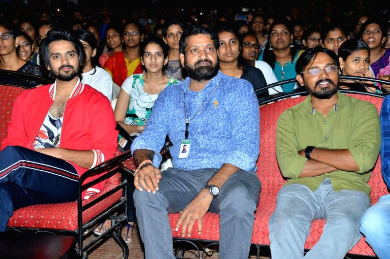Happy Wedding' movie team seen at vishnu college, in Hyderabad.