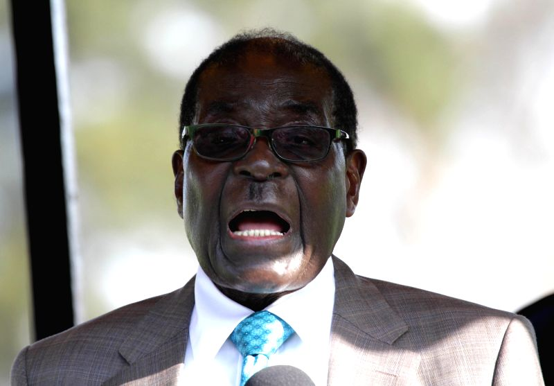 Zimbabwean President Robert Mugabe addresses the opening ceremony of the 104th Harare Agricultural Show, in Harare, Zimbabwe, Aug. 22, 2014.