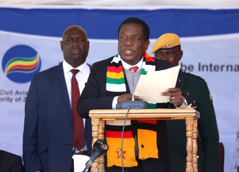 HARARE, July 23, 2018 - Zimbabwean President Emmerson Mnangagwa (Front) addresses a groundbreaking ceremony of the upgrading and expansion project of the Robert Gabriel Mugabe International Airport ...