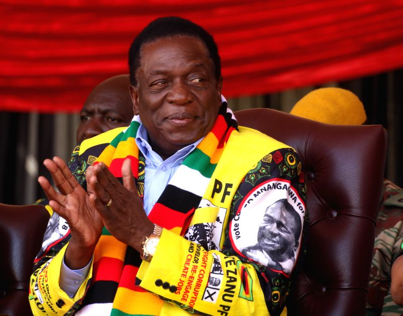 HARARE, July 28, 2018 - Zimbabwean President Emmerson Mnangagwa attends a rally in Harare, Zimbabwe, on July 28, 2018. Zimbabwean President Emmerson Mnangagwa ended his election campaign Saturday and ...