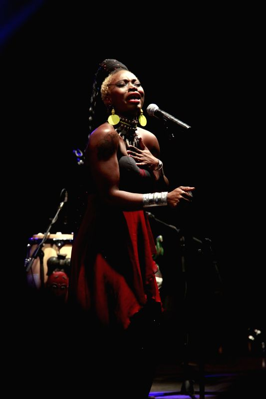Grammy-winning Dobet Gnahore from Cote D'Ivoire performs at a concert during the Harare International Festival of The Arts (HIFA) in Harare, Zimbabwe, May 1, 2014. ...