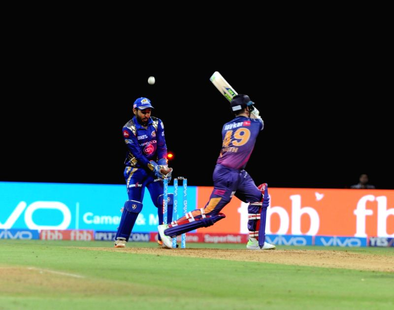 Harbhajan Singh of Mumbai Indians celebrates fall of Steve Smith's wicket during an IPL 2017 match between Mumbai Indians and Rising Pune Supergiant at Wankhede Stadium in Mumbai on April 24, ... - Harbhajan Singh