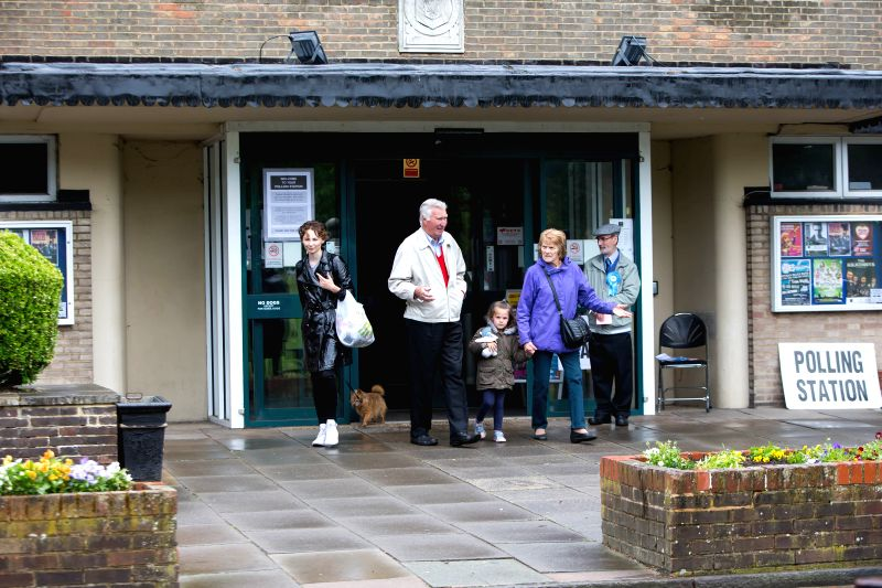 HARPENDEN, June 8, 2017 - People walk out of a polling station in Harpenden, Britain on June 8, 2017.