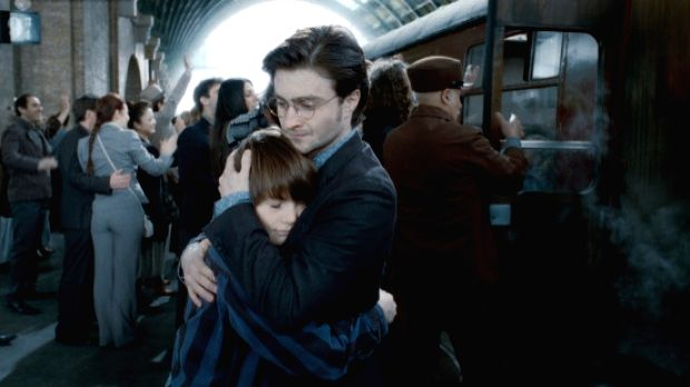 Harry Potter and son in the last scene of the film adaptation of the last book in the series