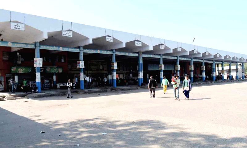 A Haryana bus depot wears a stranded look as Haryana roadways staff go on a strike to protest against the grant of route permits to private bus operators on March 17, 2015.
