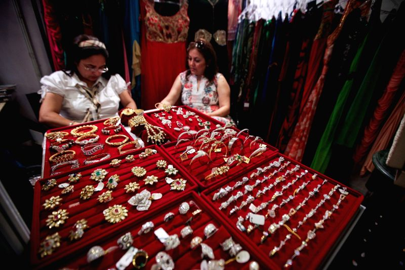 Wedding jewellery are displayed during the Big Fat Wedding exhibition in Gurgon of Haryana, India, Aug. 29, 2013. More than 30 exhibitors in India attended the