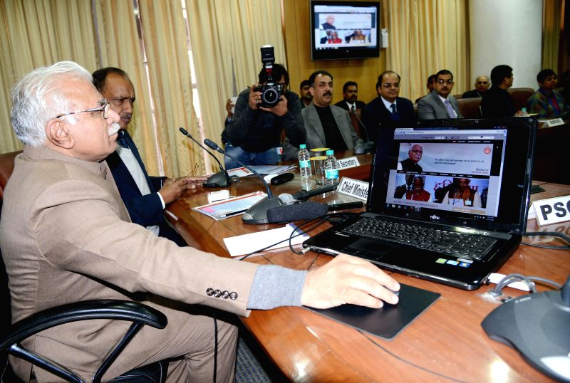 Haryana Chief Minister Manohar Lal Khattar launches Chief Minister's Grievances Redressal System on Good Governance Day in Chandigarh on Dec 25, 2014. - Manohar Lal Khattar
