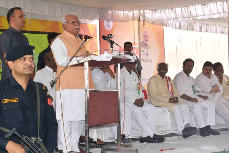 Haryana Chief Minister Manohar Lal Khattar addresses at the inauguration of the 'Modi Fest' (Making of Developed India Festival) in Hyderabad on June 9, 2017. Also seen Minister of State ... - Manohar Lal Khattar