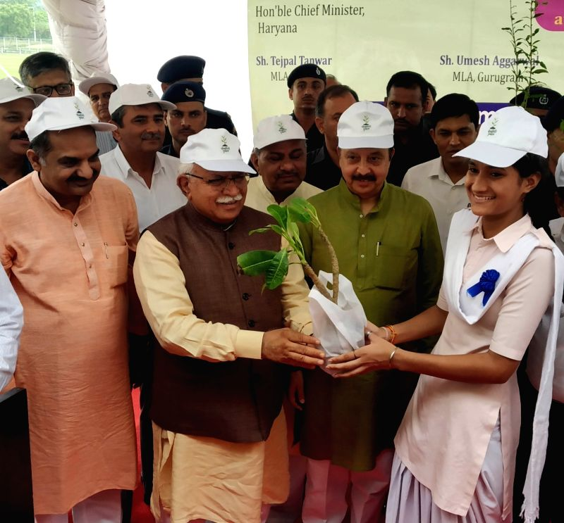 Haryana Chief Minister Manohar Lal Khattar a the launch of 'Paudhagiri campaign' - plantation drive - to increase the green cover in the state under which over 22 lakh plants will be planted during ...