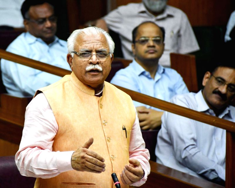 Haryana Chief Minister Manohar Lal Khattar speaks on Sutlej Yamuna Link Canal during the one day special session of state assembly in Chandigarh on May 4, 2017. - Manohar Lal Khattar