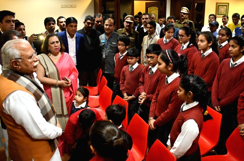 Haryana Chief Minister Manohar Lal Khattar visits GD Goenka World School, Sohna and interacts with students, teachers and staff who were present in the bus on January 24 when a group of ... - Manohar Lal Khattar