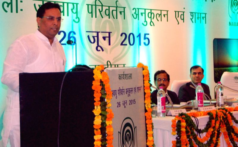 Haryana Finance Minister Capt Abhimanyu addresses during a workshop on Climate Change Adaptation and Mitigation organised by NABARD in Chandigarh on June 26, 2015. - Capt Abhimanyu