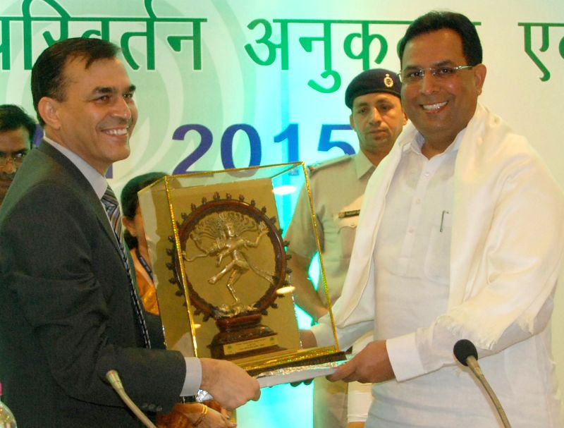 Haryana Finance Minister Capt Abhimanyu with National Bank for Agriculture and Rural Development (NABARD) chairman Harsh Kumar Bhanwala during a workshop on Climate Change Adaptation and ... - Capt Abhimanyu and Kumar Bhanwala