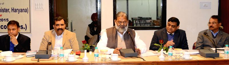 Haryana health and sports minister Anil Vij during a meeting in Chandigarh, on Dec 23, 2014.