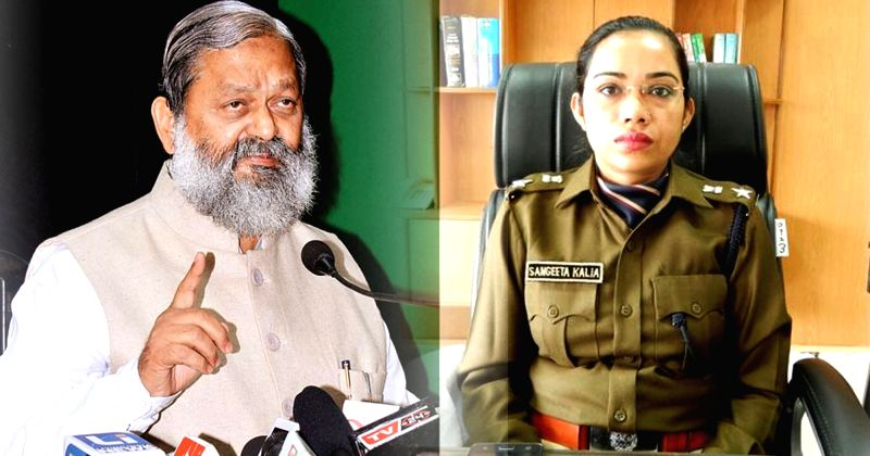 Haryana Health Minister Anil Vij (R) and Fatehabad SP Sangeeta Kalia (L) who was transferred a day after she had an argument with the minister (File Photo: IANS) - Anil Vij