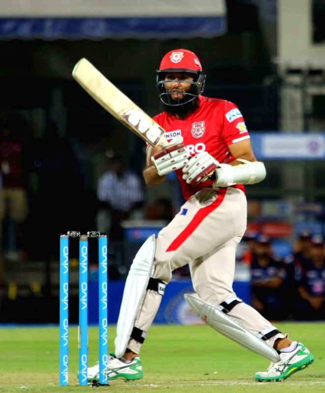 Hashim Amla of Kings XI Punjab in action during an IPL 2017 match between Kings XI Punjab and Mumbai Indians at Holkar Cricket Stadium in Indore on April 20, 2017.