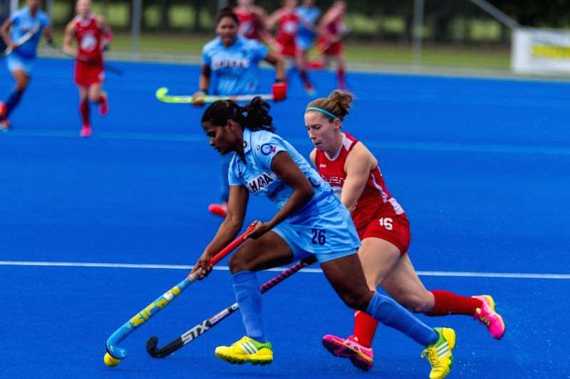 Hastings (New Zealand): The players of the Indian and the US women hockey team in action during a Hawke's Bay Cup match in Hastings, New Zealand on April 12, 2015. US team won. Score:2-4.