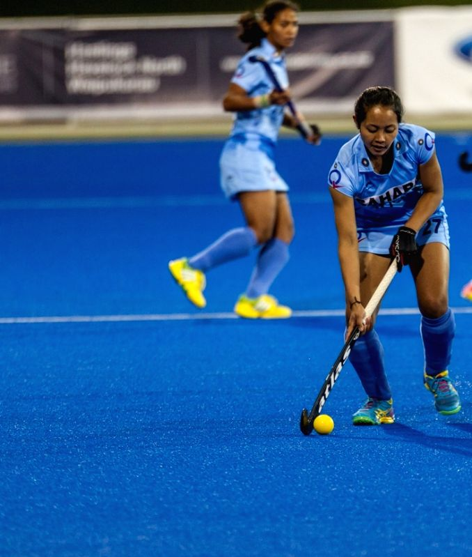 Hastings (New Zealand): The players of the Indian and the Japan women hockey team in action during a Hawke`s Bay Cup match in Hastings, New Zealand on April 19, 2015. India win. Score: 3-2.