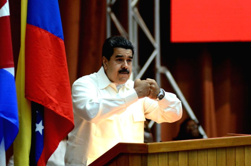 HAVANA, April 11, 2017 - Venezuelan President Nicolas Maduro delivers a speech during the 15th Political Council of the Bolivarian Alliance for the Peoples of Our America (ALBA), in Havana, Cuba, on ...