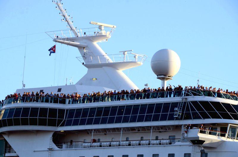 "HAVANA, April 24, 2017 - Cruise liner ""Empress of the Seas"" arrives in Havana April 23, 2017, the second vessel of the U.S. company Royal Caribbean to visit Cuba. (Xinhua/Joaquin Hernandez) ..."